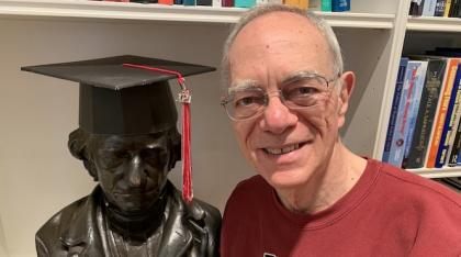 President Reif shares the contents of his virtual Commencement gift box with a friend